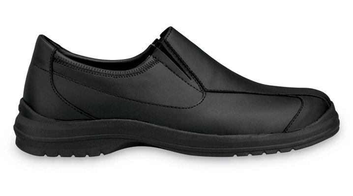 Crocs Black / Black Barista Men's Comfortable Leather Work Shoes