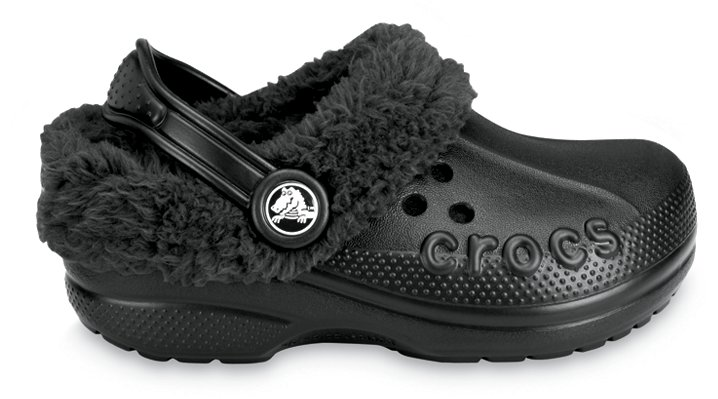 Crocs Black / Black Kids` Blitzen Comfortable Furry Clog