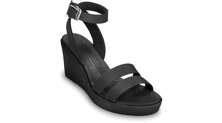 Crocs Black / Black Leigh Wedge Women's Comfortable Wedges