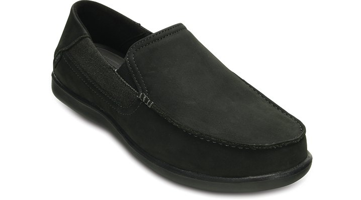 Crocs Black / Black Men'S Santa Cruz 2 Luxe Leather Loafer Shoes 202221060