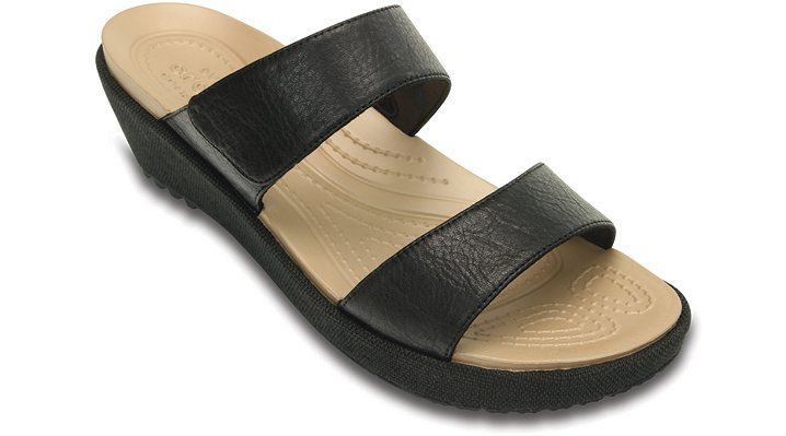 Crocs Black / Black Women'S A-Leigh 2-Strap Mini Wedge Shoes