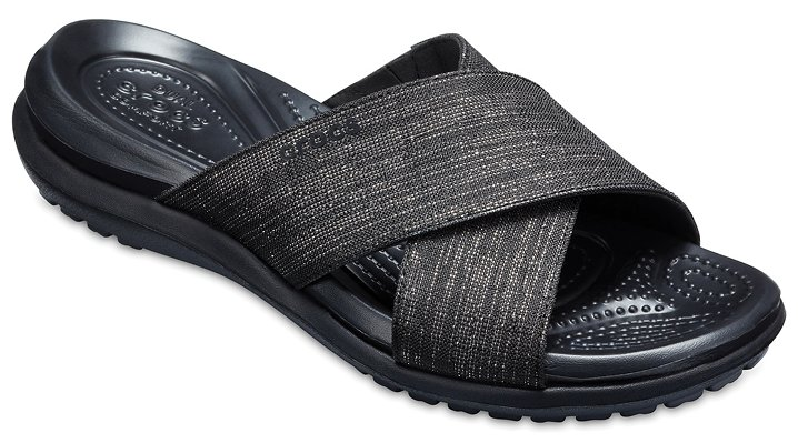 Crocs Black / Black Women's Capri Shimmer Cross-Band Sandals Shoes