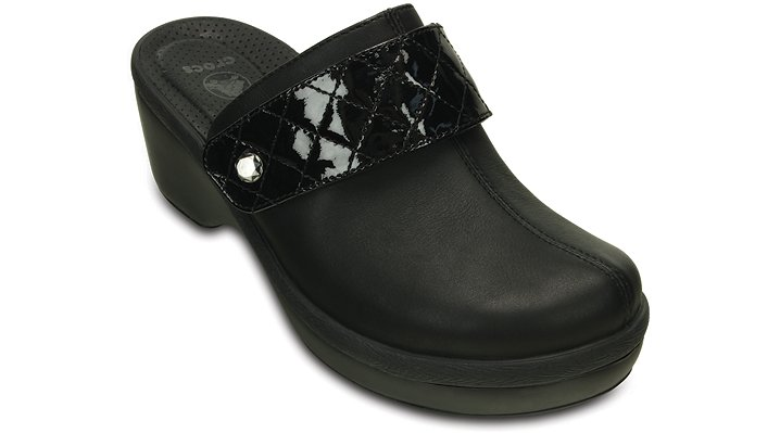 Crocs Black / Black Women'S Crocs Cobbler Quilt Strap Clog Shoes