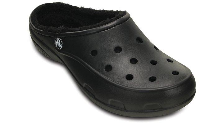 Crocs Black / Black Women's Crocs Freesail Fuzz Lined Clog Shoes