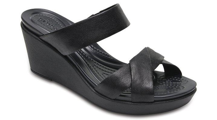 Crocs Black / Black Women's Crocs Leigh-Ann Leather Wedge Shoes