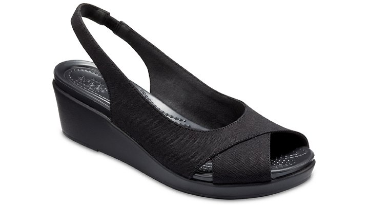 Crocs Black / Black Women's Crocs Leigh Ann Slingback Wedges Shoes