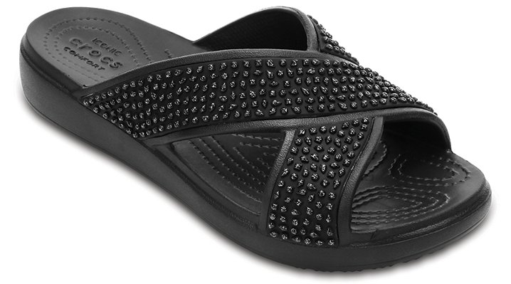 Crocs Black / Black Women's Crocs Sloane Embellished Cross-Strap Sandals Shoes