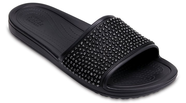 Crocs Black / Black Women's Crocs Sloane Embellished Slides Shoes