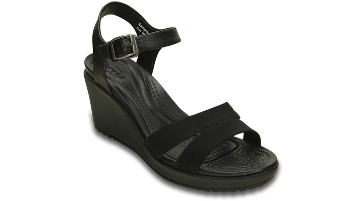Crocs Black / Black Women'S Leigh Ii Ankle Strap Wedge Shoes