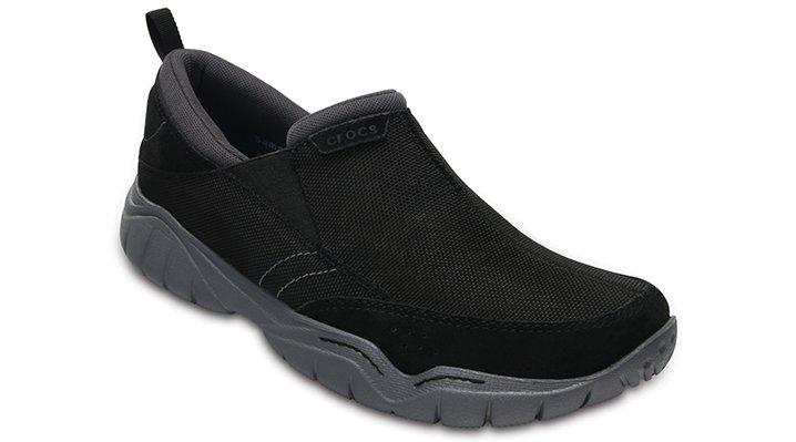 Crocs Black / Charcoal Men's Swiftwater Edge Moc Shoes