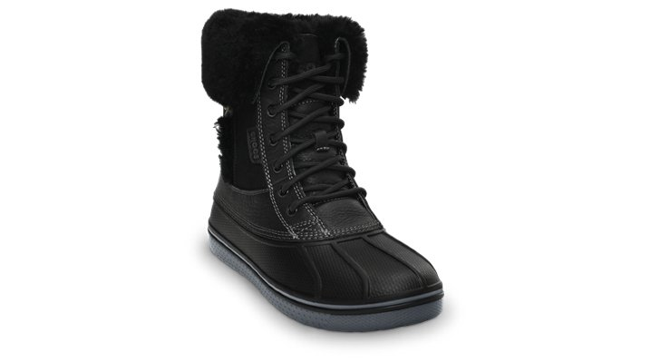 Crocs Black / Charcoal Women's Allcast Luxe Duck Boot Women's Cold Weather Boot