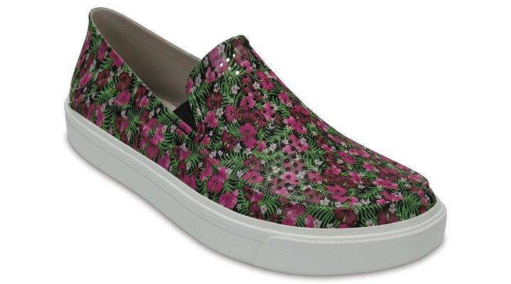 Crocs Black / Floral Women's Citilane Roka Graphic Slip-Ons Shoes
