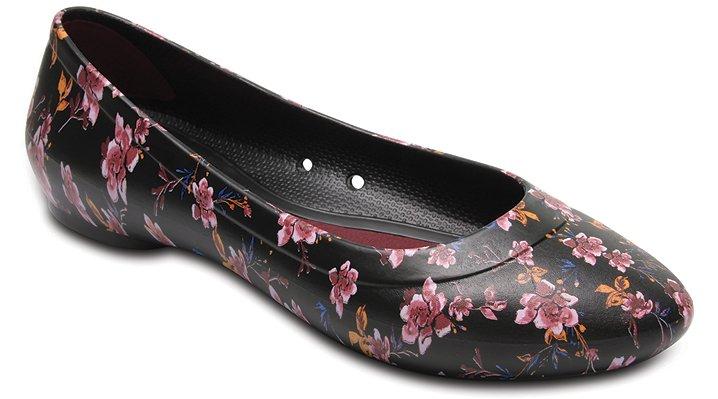 Crocs Black / Floral Women'S Crocs Lina Graphic Flat Shoes