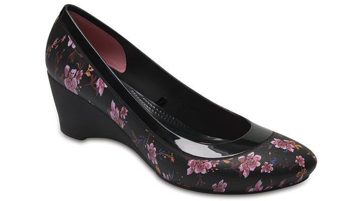Crocs Black / Floral Women's Crocs Lina Graphic Wedge Shoes
