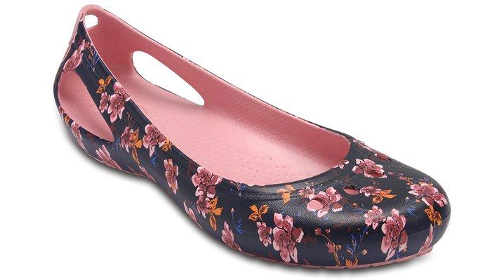 Crocs Black / Floral Women's Kadee Graphic Flat Shoes