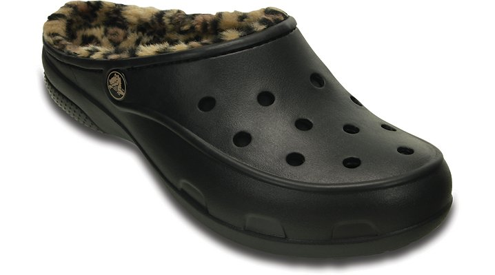 Crocs Black / Gold Women's Crocs Freesail Leopard Fuzz Lined Clog Shoes