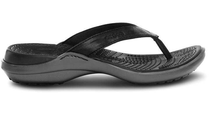 Crocs Black / Graphite Capri Flip Leather Comfortable Flip Flops For Women