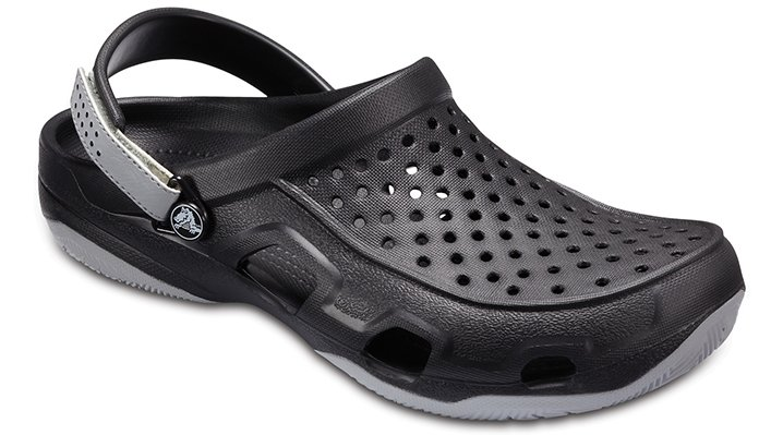 Crocs Black / Light Grey Men's Swiftwater Deck Clog Shoes