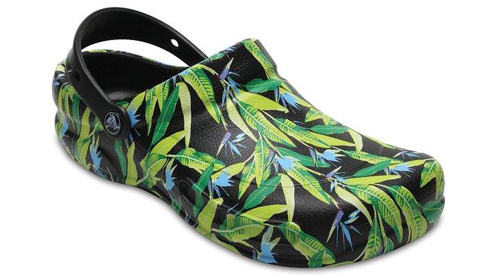 Crocs Pfd Black / Parrot Green Bistro Graphic Clogs Shoes