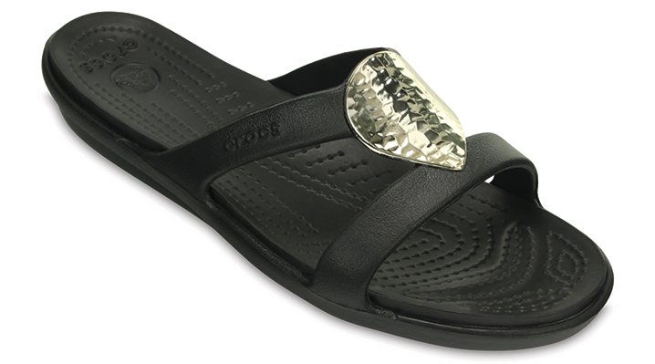 Crocs Black / Silver Metallic Women's Sanrah Embellished Sandal Shoes