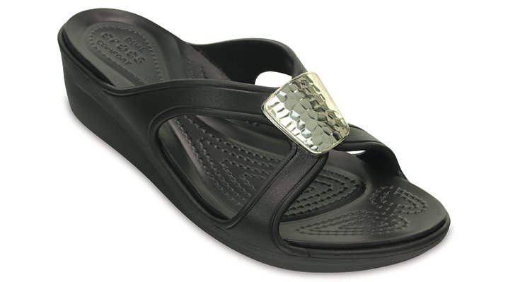 Crocs Black / Silver Metallic Women's Sanrah Embellished Wedge Shoes