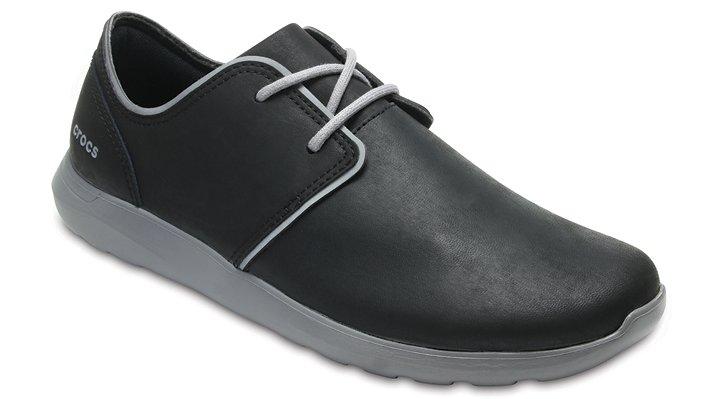 Crocs Black / Smoke Men's Crocs Kinsale Leather Lace-Up Shoes
