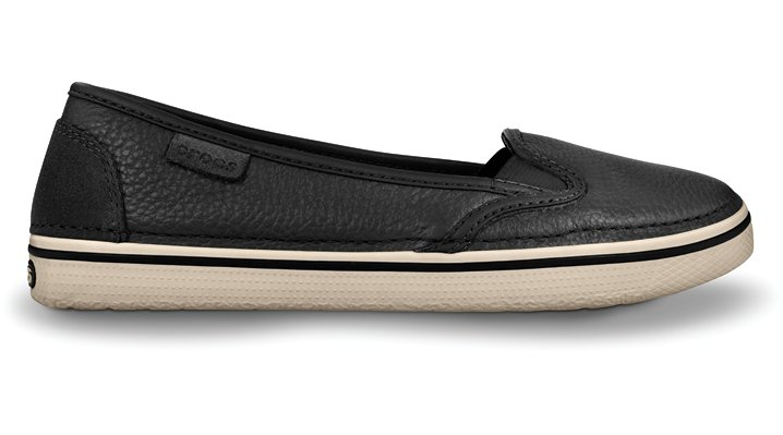 Crocs Black / Stucco Women's Hover Slip-On Leather Women's Leather Flats