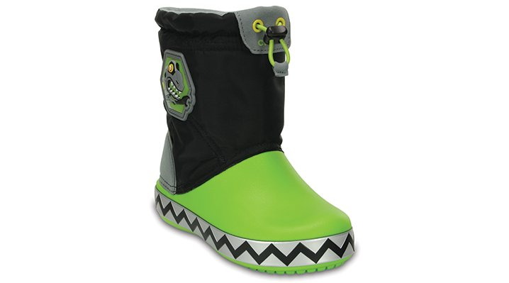 Crocs Black / Volt Green Kids' Crocslights Lodgepoint Robosaur Boot Shoes