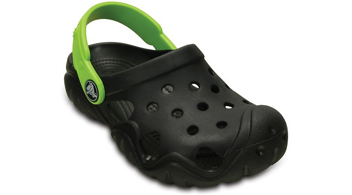 Crocs Black / Volt Green Kids' Swiftwater Clog Shoes