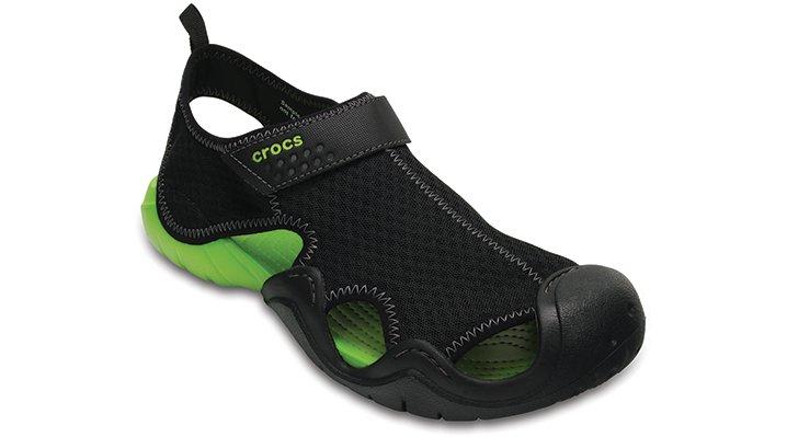 Crocs Black / Volt Green Men'S Swiftwater Sandal Shoes
