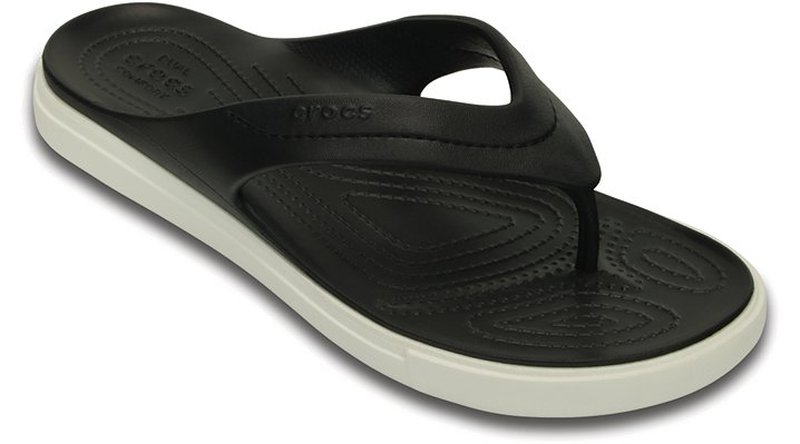 Crocs Black / White Citilane Flip Shoes