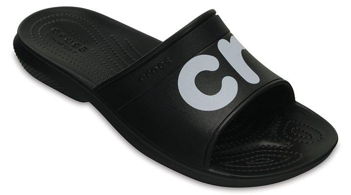 Crocs Black / White Classic Graphic Slides Shoes