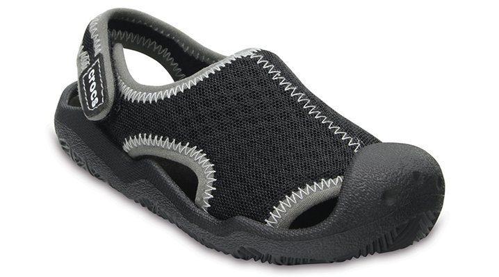 Crocs Black / White Kids' Swiftwater Sandals Shoes