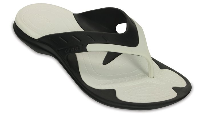Crocs Black / White Modi Sport Flip Shoes