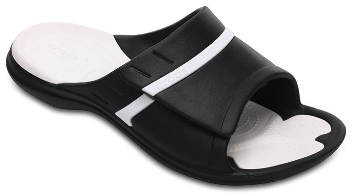 Crocs Black / White Modi Sport Slides Shoes