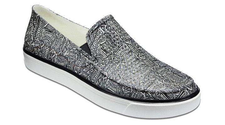 Crocs Black / White Men's Citilane Roka Graphic Slip-Ons Shoes