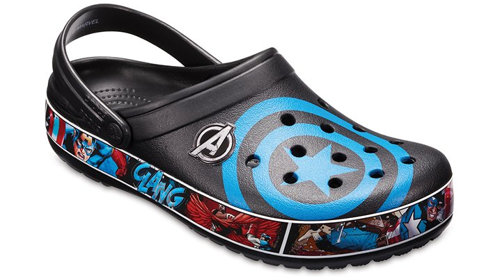 Crocs Black/Blue Jean Crocband™ Captain America™ Clogs Shoes