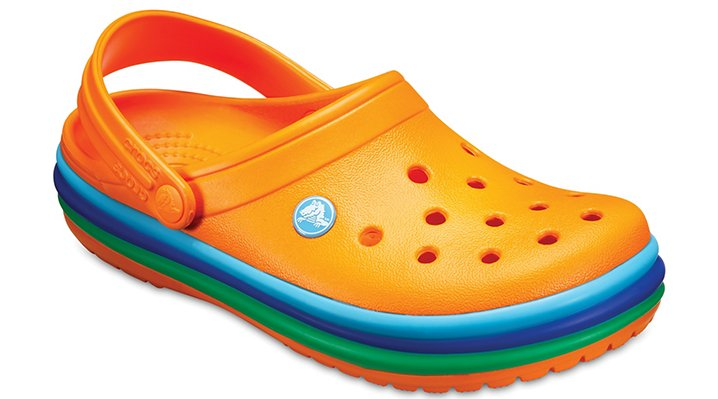 Crocs Blazing Orange Crocband™ Rainbow Band Clogs Shoes