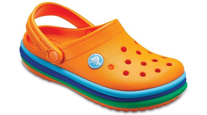 Crocs Blazing Orange Kids' Crocband™ Rainbow Band Clogs Shoes 20520580O