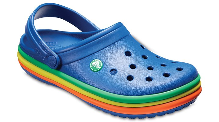 Crocs Blue Jean Crocband™ Rainbow Band Clogs Shoes