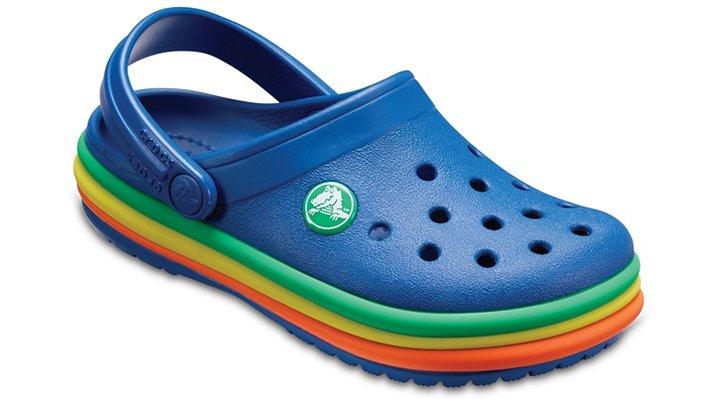Crocs Blue Jean Kids' Crocband™ Rainbow Band Clogs Shoes