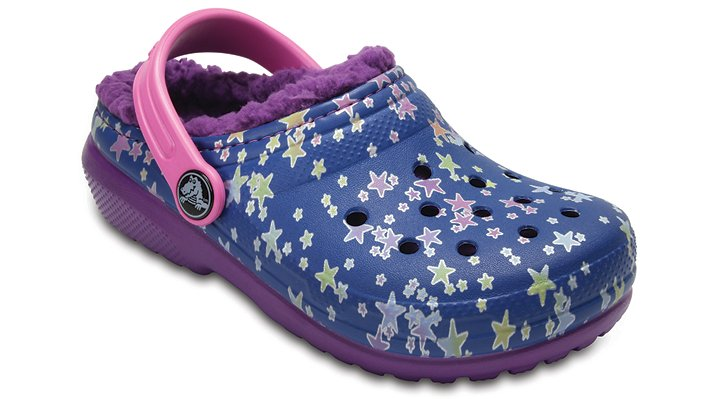 Crocs Blue Jean/Amethyst Kids' Classic Fuzz Lined Graphic Clog Shoes