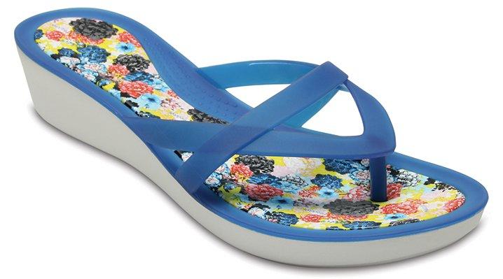 Crocs Blue Jean/Floral Women's Crocs Isabella Print Wedge Flip Shoes
