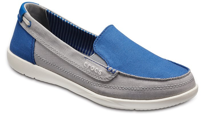 Crocs Blue Jean/Light Grey Women'S Walu Canvas Loafer Shoes
