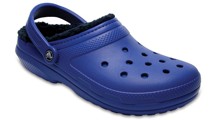 Crocs Blue Jean/Navy Classic Fuzz Lined Clog Shoes