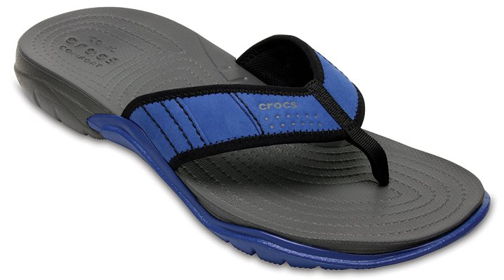 Crocs Blue Jean/Slate Grey Men'S Swiftwater Flip Shoes