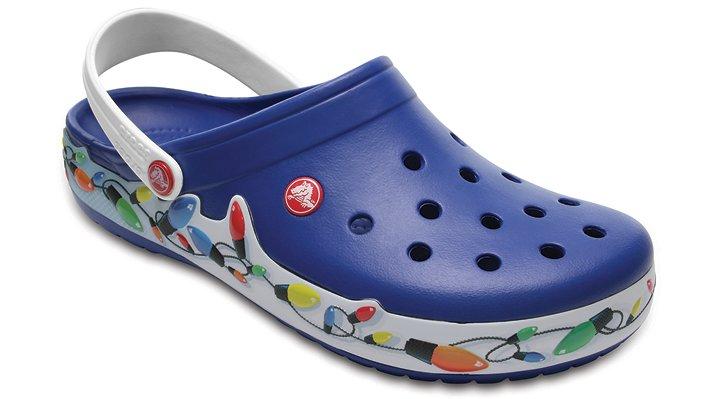 Crocs Blue Jean/White Crocband™ Holiday Lights Clog Shoes