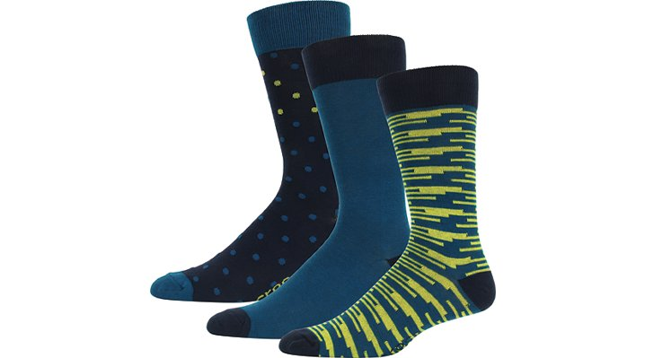Crocs Blue Men'S Dress Socks 3-Pack Shoes