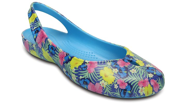 Crocs Blue / Fluorescent Women's Olivia Ii Graphic Flat Shoes