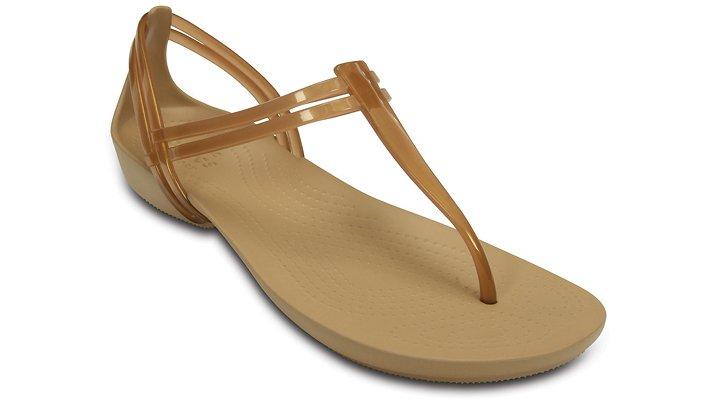 Crocs Bronze Women'S Crocs Isabella T-Strap Sandal Shoes